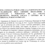 Consulta pública per a la participació ciutadana en l'elaboració dels criteris reguladors de la senyalització i publicitat de la localització d'establiments, negocis, locals i centres de pública concurrència, públics o privats