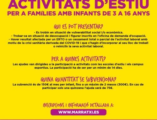 L'Ajuntament de Marratxí obre el termini per demanar ajudes econòmiques per a famílies amb nins inscrits en activitats d'estiu