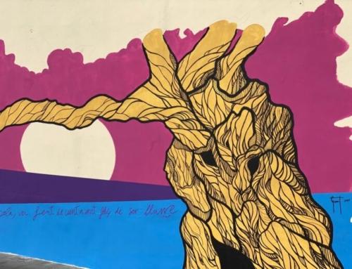 Llorenç Garrit finalitza el 'Mural per la Igualtat' que ha pintat a Pòrtol amb motiu del 8M
